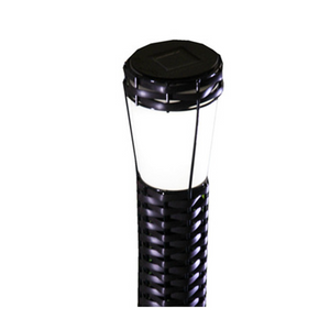 Solar Rattan Bollard Round-Solar LED Garden Decorative Lights Outdoor