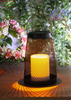Solar Outdoor Powered Metal Lantern-LED Garden Decorative Lantern with Candle Holder in Nature Color by Handmade