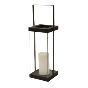 Solar Powered Metal Glass Lantern - Middle Size-LED Garden Decorative Lights Outdoor