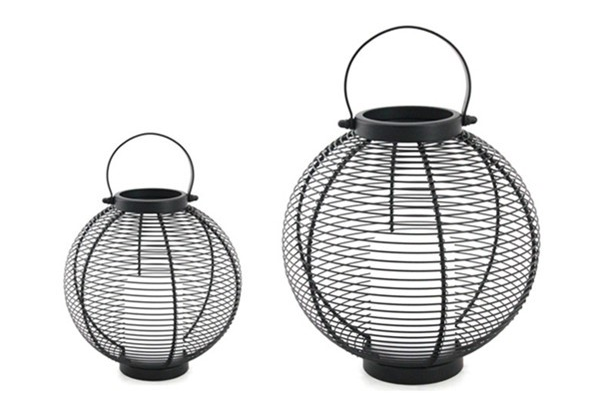Solar Powered Metal Lantern Ball Shape - Small Size--LED Garden Decorative Lights Outdoor